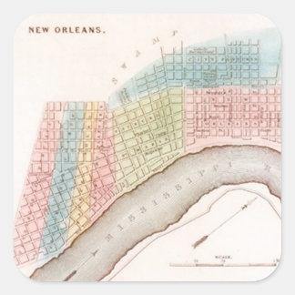 Sticker Antique New Orleans NOLA Map Pastel Shades