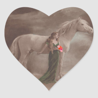 Sticker Antique Night Dream moonlight Horse Woman
