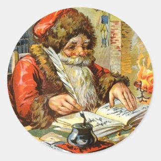 Sticker Antique Santa Claus Christmas Holiday List
