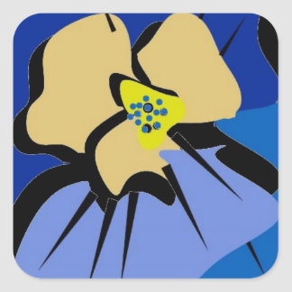 sticker,BLUE PANSY Square Sticker
