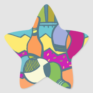Sticker Bowling Pins Ball Abstract Sport Star Bowl