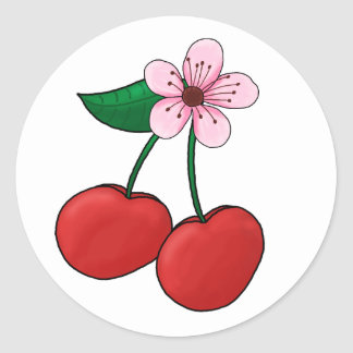 Sticker-Cherry Blossom Classic Round Sticker