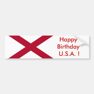 Sticker Flag of Alabama, Happy Birthday U.S.A.! Bumper Sticker