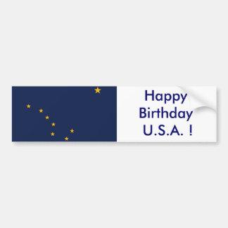 Sticker Flag of Alaska, Happy Birthday U.S.A.! Car Bumper Sticker