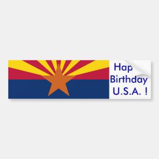 Sticker Flag of Arizona, Happy Birthday U.S.A.! Car Bumper Sticker