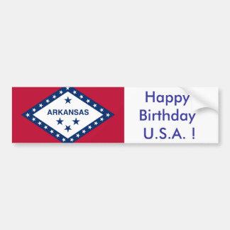 Sticker Flag of Arkansas Happy Birthday U S A Bumper Sticker