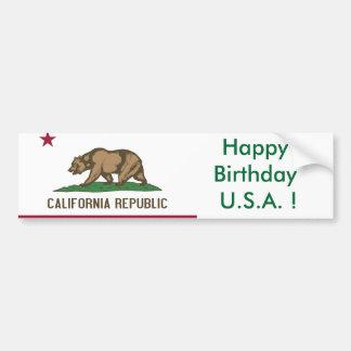 Sticker Flag of California, Happy Birthday U.S.A.! Car Bumper Sticker