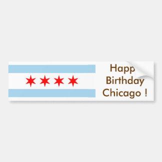 Sticker Flag of Chicago, Happy Birthday U.S.A.! Bumper Sticker