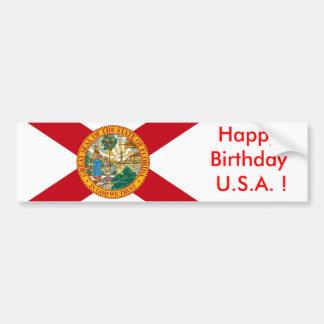 Sticker Flag of Florida, Happy Birthday U.S.A.! Bumper Sticker