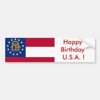 Sticker Flag of Georgia, Happy Birthday U.S.A.! Bumper Stickers