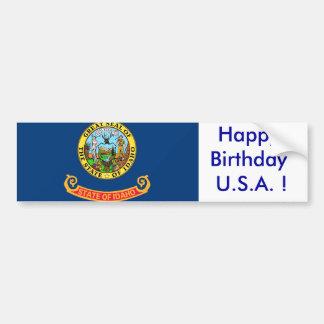 Sticker Flag of Idaho, Happy Birthday U.S.A.! Car Bumper Sticker