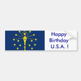 Sticker Flag of Indiana, Happy Birthday U.S.A.! Bumper Stickers