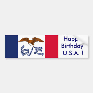 Sticker Flag of Iowa, Happy Birthday U.S.A.! Car Bumper Sticker