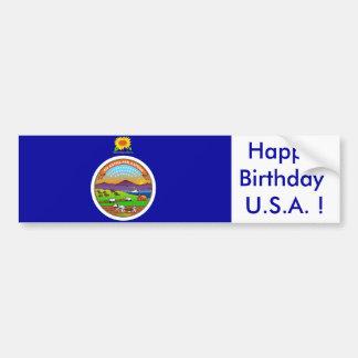 Sticker Flag of Kansas, Happy Birthday U.S.A.! Car Bumper Sticker