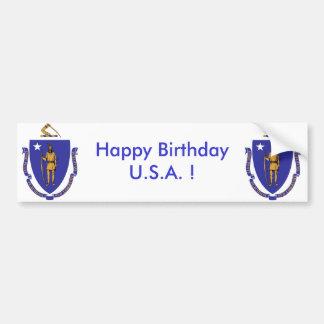 Sticker Flag of Massachuset,Happy Birthday U.S.A.! Bumper Sticker