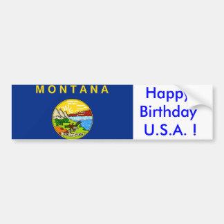 Sticker Flag of Montana, Happy Birthday U.S.A.! Bumper Stickers