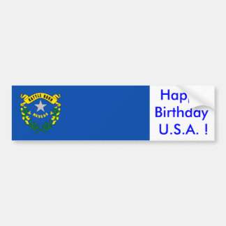 Sticker Flag of Nevada, Happy Birthday U.S.A.! Bumper Stickers