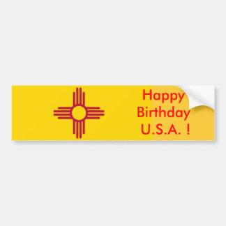 Sticker Flag of New Mexico, Happy Birthday U.S.A.! Bumper Sticker