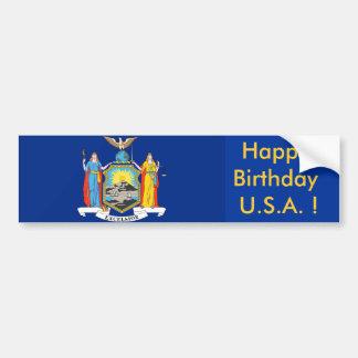 Sticker Flag of New York, Happy Birthday U.S.A.! Bumper Stickers