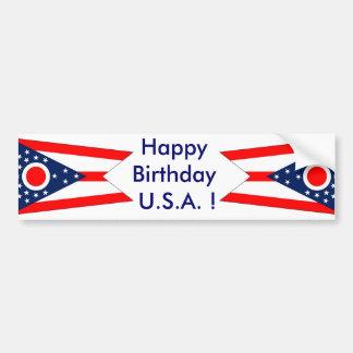 Sticker Flag of Ohio, Happy Birthday U.S.A.! Car Bumper Sticker