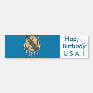Sticker Flag of Oklahoma,Happy Birthday U.S.A.! Car Bumper Sticker