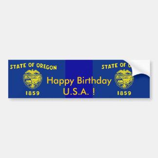 Sticker Flag of Oregon,Happy Birthday U.S.A.! Car Bumper Sticker
