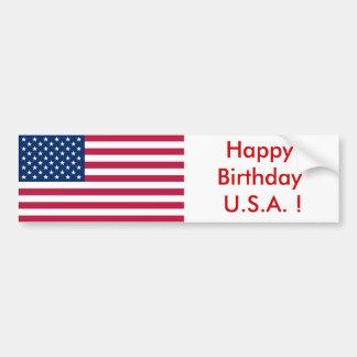 Sticker Flag of the USA, Happy Birthday U.S.A. ! Car Bumper Sticker
