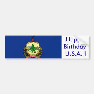 Sticker Flag of Vermont, Happy Birthday U.S.A.! Bumper Stickers