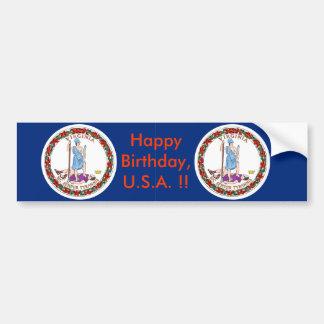 Sticker Flag of Virginia, Happy Birthday U.S.A.! Bumper Stickers