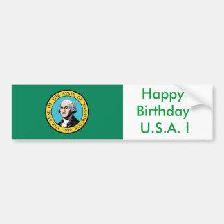 Sticker Flag of Washington, Happy Birthday U.S.A.! Car Bumper Sticker
