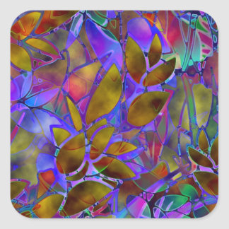 Sticker Floral Abstract Stained Glass