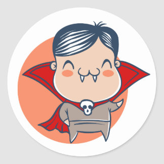 Sticker for Halloween with Dracula vampire