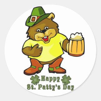 Sticker-Happy St. Paddy's Day Irish Round Sticker