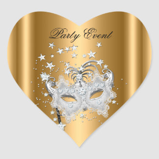 Sticker Heart MASK Gold Silver Party