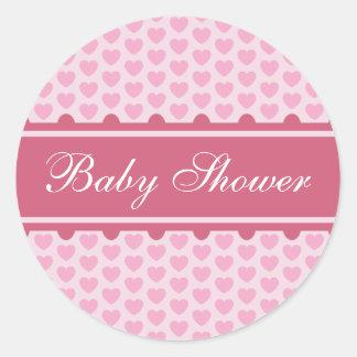 Sticker: Hearts - Baby shower Classic Round Sticker