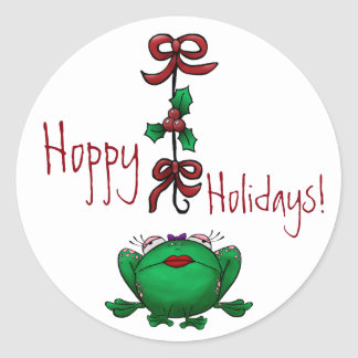 Sticker Hoppy Holidays Christmas Frog