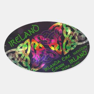 Sticker, Ireland, Celtic knot, multicolored Oval Sticker