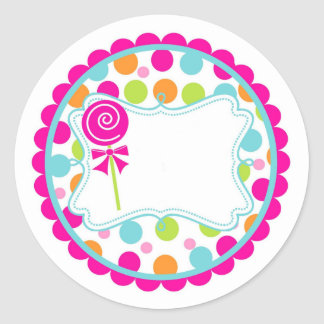 Sticker/Lollipop and Dots Classic Round Sticker