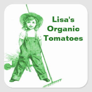 Sticker Organic Green Gardener Garden Farm Market