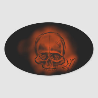 Sticker red skull in sketches the style