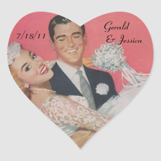 Sticker Retro Couple Marriage Wedding Heart Date