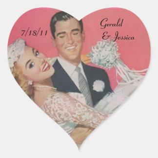 Sticker Retro Couple Marriage Wedding Heart Date