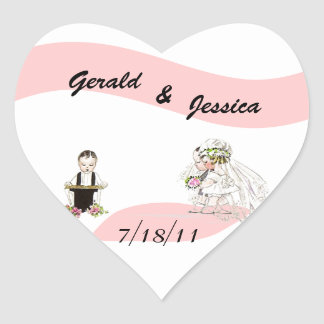 Sticker Retro Marriage Wedding Heart Date Ceremony