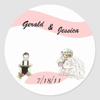 Sticker Retro Marriage Wedding Round Date Ceremony