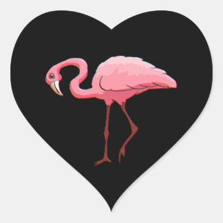 Sticker Retro Stationery Pink Flamingo Black Heart