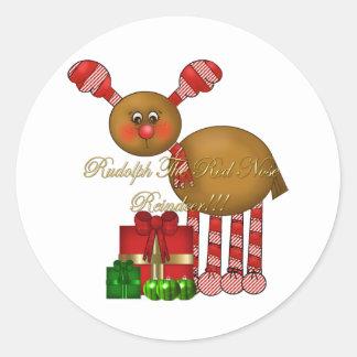 Sticker-Rudolph the Red Nose Reindeer Round Sticker