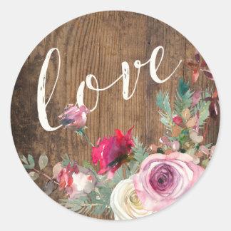 STICKER | Rustic Wood Love Floral Lights Wedding
