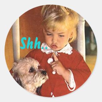 Sticker Shh... Retro Secret Surprise Party Seals