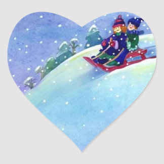 Sticker Sledding Winter Fun Play Snowing Sled Hill