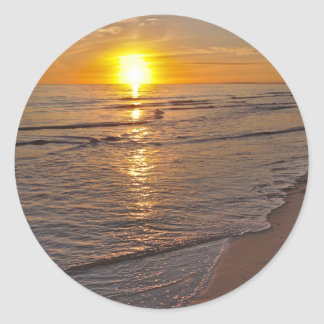 Sticker: Sunset by the Beach Round Sticker